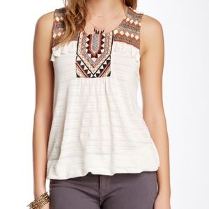 Lucky Brand Embroidered Tassel Tank Top Rust Large
